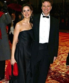 Colin Firth and his wife at the 'foaming carpet' Baftas, 2002.