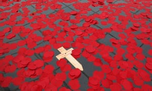 Poppies in a fountain in Trafalgar Square