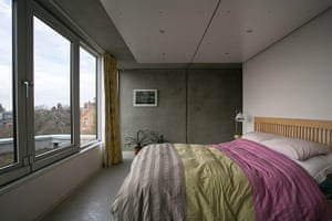 Homes - Concrete house: bedroom with concrete wall