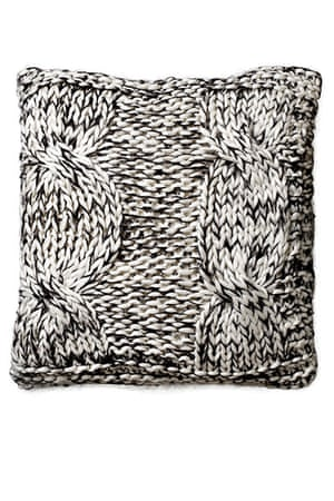 Homes - warm front: black and white knitted cushion
