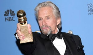 Michael Douglas with his Golden Globe award