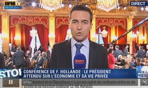 Journalists gather for Francois Hollande's press conference in the Salle des Fetes