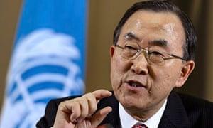 UN Secretary General Ban Ki-moon gesture