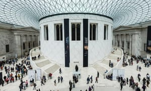 Visitors walk through the Great Court inside the British Museum in London