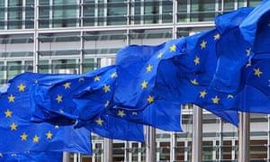 EU flags outside European Commission HQ, Brussels