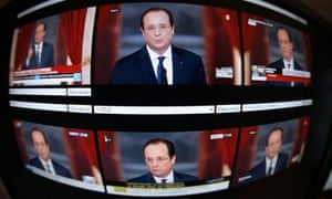 International TV channels broadcast the press conference of French president François Hollande