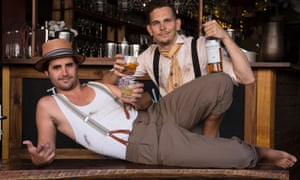 Scotch and Soda musicians, Eden Ottignin (Tie) and Justin Fermino (hat & braces), drinking at their favourite bar 'Corridor' in Newtown. Photo: The Guardian/Anna Kucera