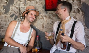 Justin and Eden compare whiskies. Photo: The Guardian/Anna Kucera