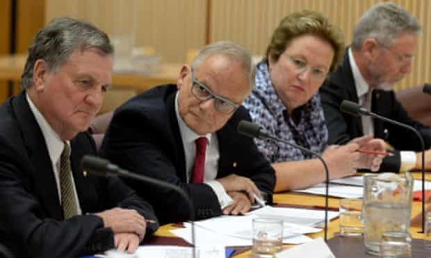 Commission of Audit members Robert Fisher, Tony Shepherd, Amanda Vanstone and Peter Boxall being questioned at a Senate hearing at Parliamemt House in Canberra on Wednesday