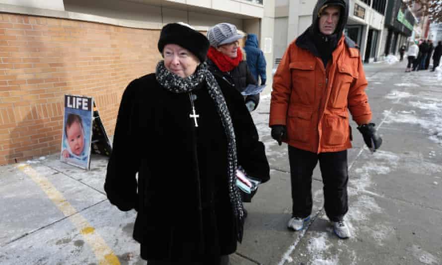 Anti-abortion protesters Eleanor McCullen and William Cotter in Boston
