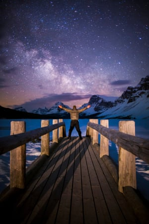 Taking stock in the Galactic Gateway, Bow Lake, Banff National Park.