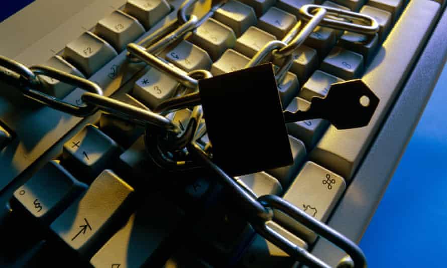 Locked computer keyboard
