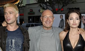 Producer Arnon Milchan with Brad Pitt and Angelina Jolie at the premiere of Mr and Mrs Smith.