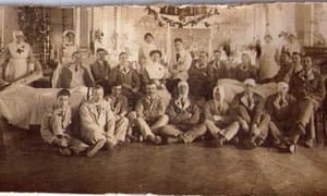 Ernest Taylor in hospital after the Battle of Arras 1917: Ernest is seated on floor far left of image