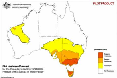 Map of heat wave forecast in Australia for January 14 2014