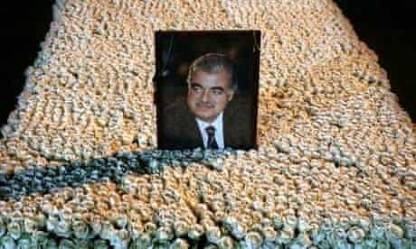 Portrait of Rafik Hariri on his grave in Beirut, Lebanon