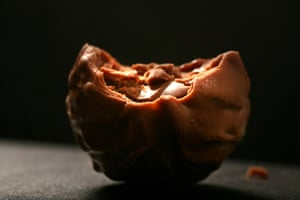 An organic chocolate truffle, made by Thorntons.