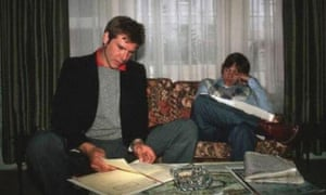 Harrison Ford and Mark Hamill rehearse their lines.