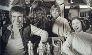Harrison Ford, Peter Mayhew, Mark Hamill and Carrie Fisher share a lighter moment on set.