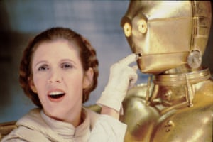 Carrie Fisher in playful mood on set.