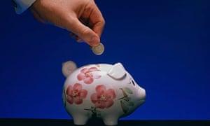Piggy bank man's hand