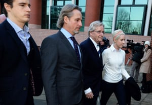 Coronation Street actor William Roache (2nd Right) arrives at Preston Crown Court with his children James, Linus and Verity for the third day of his trial in Lancashire.