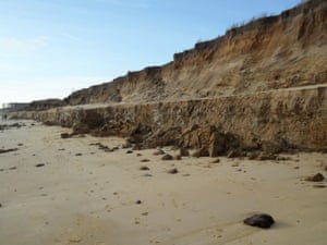 'Two metres depth of sand and shingle disappeared.' - a view of Covehithe on the Suffolk coast.