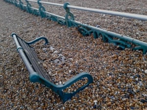The aftermath of the storms along Brighton seafront. 'Built up shingle, proving the power of the sea.'