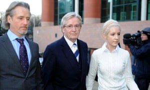 Coronation street actor Bill Roache arrives at court with son Linus and daughter Verity