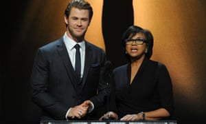 Thor star Chris Hemsworth and scademy President Cheryl Boone Isaacs announce the nominees at the 86th Academy Awards nominations snnouncement.