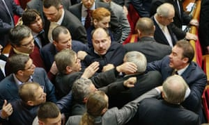 Deputies clash during debates on the country's budget for 2014.