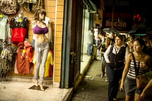 Well endowed mannequins: Well-endowed mannequins display clothes for sale in Caracas
