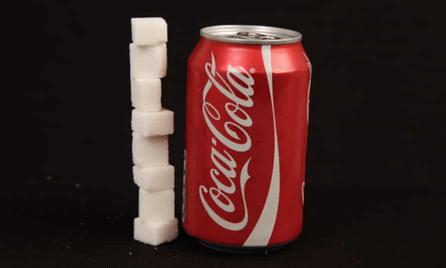 can of coca cola / coke and sugar cubes