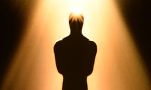 An image of an Oscar statue is seen at the 86th Academy Awards nominations announcement.