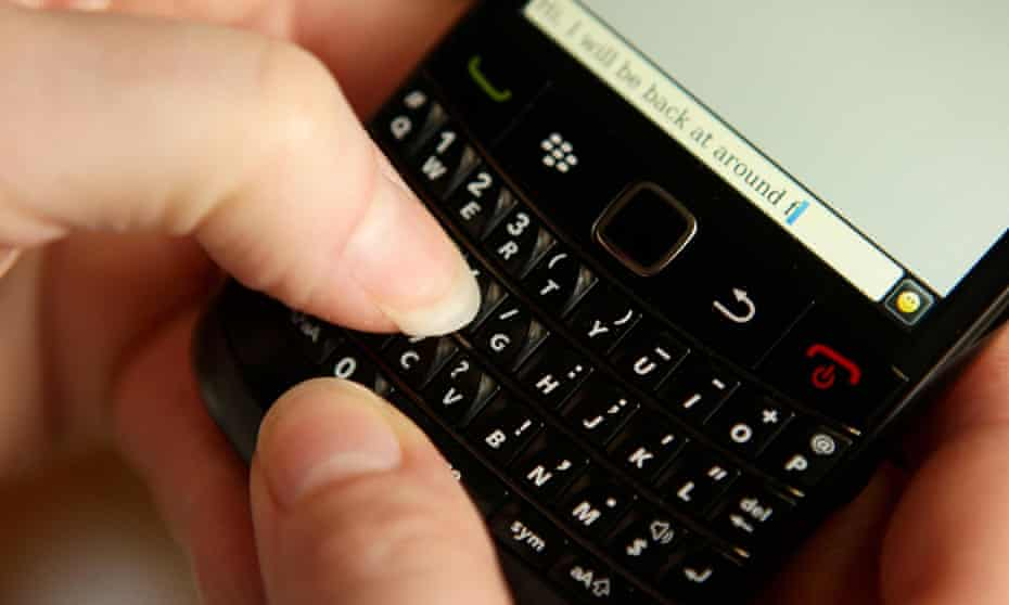 Texting on BlackBerry mobile phone