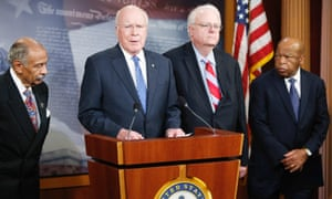 Senator Patrick Leahy (D-VT) (second left) is joined by representatives John Conyers (D-MI) (left), Jim Sensenbrenner (R-WI) and John Lewis (D-GA) as they announce legislation to restore key provisions of the Voting Rights Act.