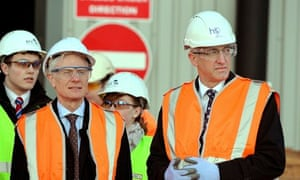Lord Deighton from the Treasury with Sir David Higgins at the site of a new HS2 station