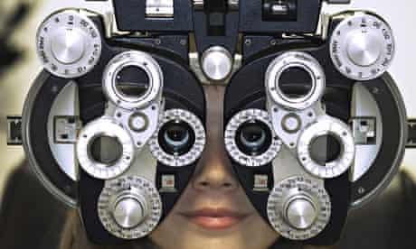 Woman getting an eye test