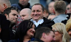 Newcastle United owner Mike Ashley watches his team from the stands