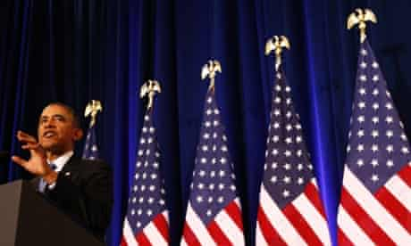 Barack Obama speaks about the National Security Agency from the Justice Department in Washington.