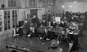 School physics laboratory 1955