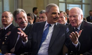 NSA director General Keith Alexander, Deputy AG James Cole, Attorney General Eric Holder, and Senator Patrick Leahy.