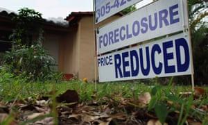 A foreclosure sign in front of a home in Miami, Florida.