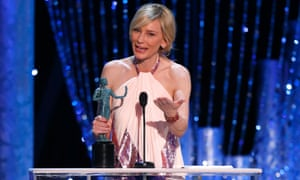 Cate Blanchett accepts her award from the Screen Actors Guild.