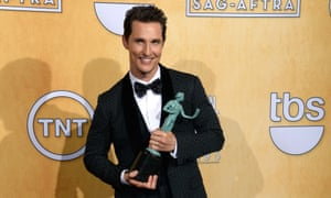 Matthew McConaughey with his award.