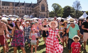 Crowds reacting to the music at So Frenchy, So Chic In The Park at  St. John's College, Camperdown.