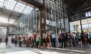 Crowds queue in front of Christian Boltanski's artwork 'Chance' ahead of the nights performances at Carriageworks, Eveleigh.