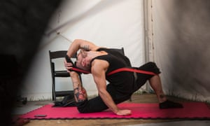 Backstage with Limbo: Philipp Tigris, a contortionist, before their performance at The Spiegeltent.