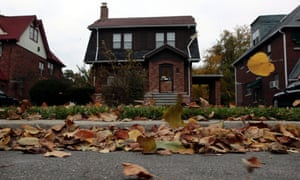 A house listed on the auction block during a tax foreclosures auction in Detroit.