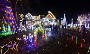 Large Christmas light display in Decatur